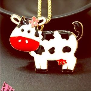 NWT🐮 Betsey Johnson Red Enamel Cow Necklace